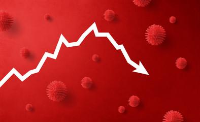 Descending graph, danger, crisis, impact and corona virus concept. Wall mural