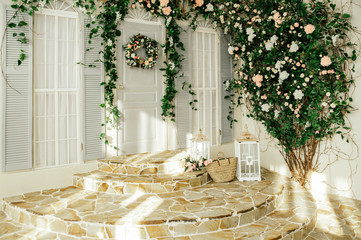 The facade of the house and a large green bush with flowers. Photo Zone Background