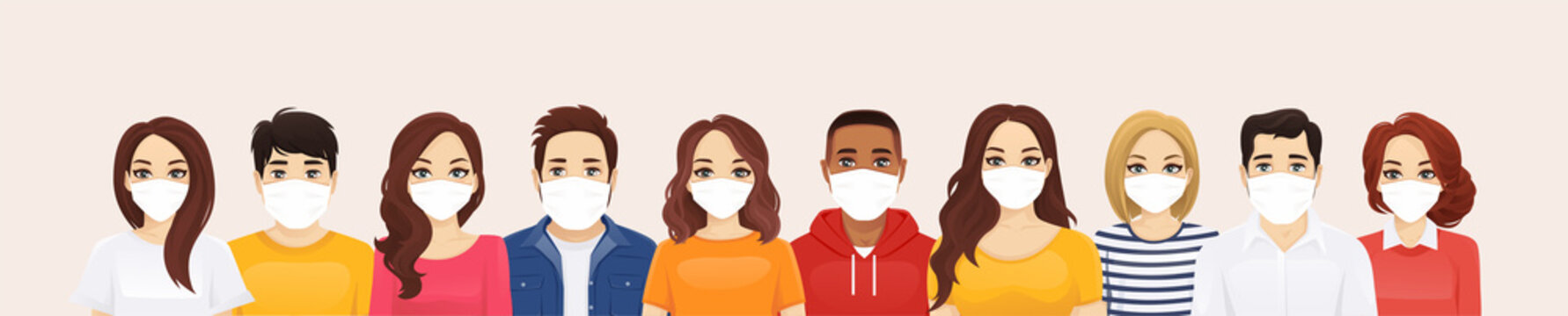 Group of people wearing protective medical mask as protection against transmissible infectious diseases, flu and air pollution vector illustration