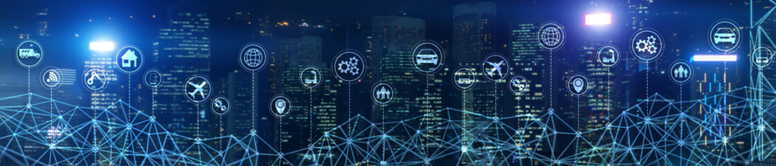 Smart City IOT Concept. Wallpaper for your site. Panoramic Business Banner.
