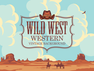 Fototapeta Vector banner on the theme of the Wild West with cowboy hat and emblem. Decorative landscape with American prairies, cloudy sky and silhouettes of cowboys on horseback. Western vintage background