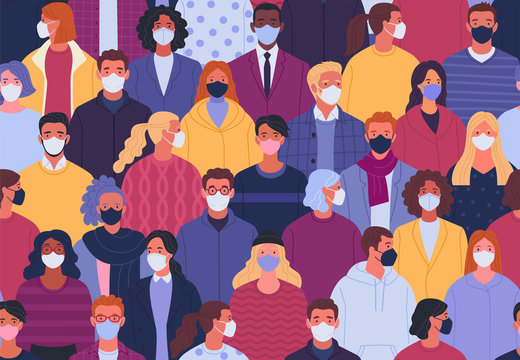 Coronavirus pandemic seamless pattern. Vector illustration of multiethnic crowd of people in medical masks in trendy flat style.