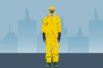 Illustration vector graphic of image man wearing hazmat suits isolated on empty city street background. Safety virus infection concept. Dangerous profession. Virus, infection, epidemic, quarantine