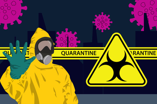 Illustration vector graphic of Man in protective yellow hazmat suit and protection masks to prevent epidemic MERS-CoV wuhan coronavirus 2019-nCoV pandemic with hand raised stop concept. vector EPS10.