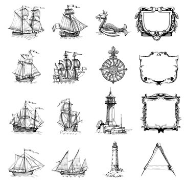 Set of decorative elements for the design of an old geographical map. Ancient caravel, sea monsters, lighthouse, compass-meter, wind rose, framework for inscriptions, cartouche.