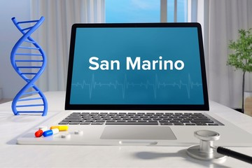 San Marino – Medicine/health. Computer in the office with term on the screen. Science/healthcare Wall mural