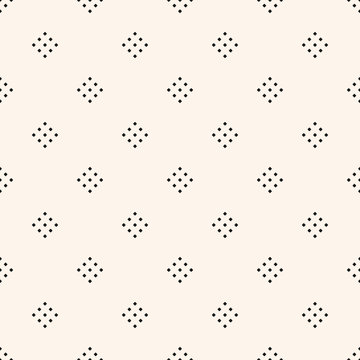 Vector geometric texture with small diamond shapes, tiny rhombuses, squares, dots. Abstract minimalist modern seamless pattern. Simple minimal monochrome background. Subtle repeat design for decor