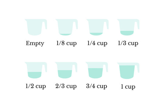 Kitchen measuring cups with various amount of liquid, vector illustration