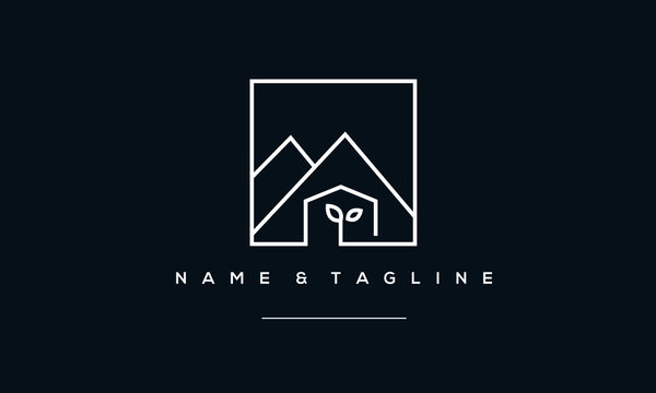 A line art icon logo of a mountain with a green house