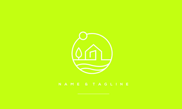 A line art icon logo of a modern house with a Tree and waves
