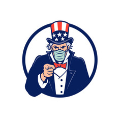 Mascot icon illustration of American Uncle Sam, national personification of the U.S. government, wearing a surgical mask, pointing at the viewer set in circle on isolated background in retro style.