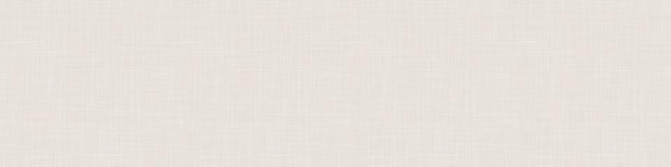 Seamless beige woven linen texture border background. Ecru flax hemp fiber natural pattern. Organic fibre close up weave fabric for surface material. Ecru natural gray cloth textured banner ribbon.