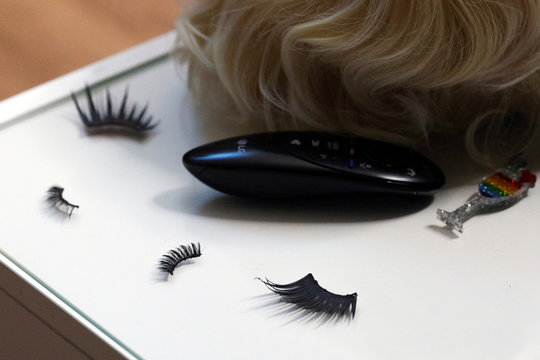 Accessory eyelashes are seen in the home of a flight attendant stood down in the fallout of the coronavirus pandemic in Sydney