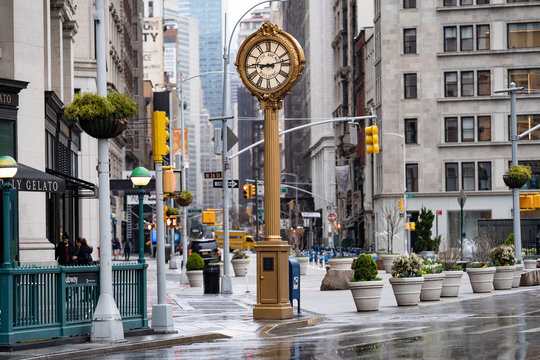 Empty streets of New York City. Madison square garden with historical clock and iron building. Rainy days in new York city, Manhattan.