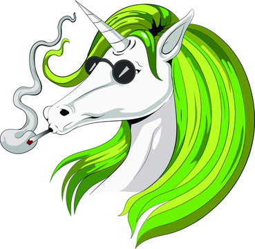 High unicorn smoking green weed cannabis legalize bold cool attractive