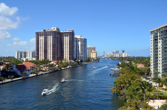 View looking north from Aventura,Florida, of condo buildings on the shores of the Florida Intra-Coastal waterway.