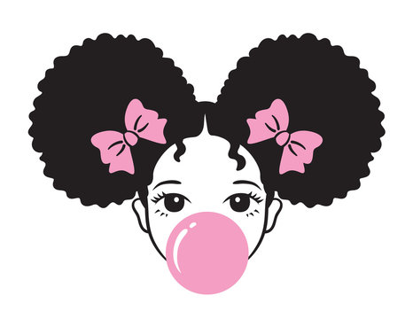 Cute girl with afro puff hair blowing bubble gum vector illustration.