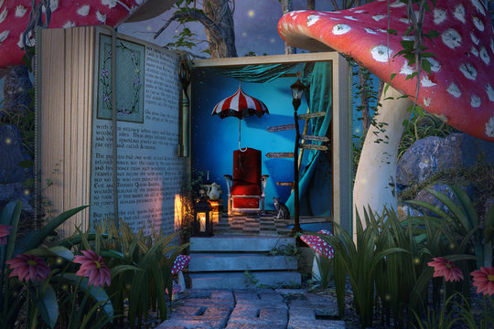 Fantasy open book in the jungle with giant mushrooms, 3d render.