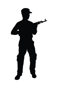 Soldier with rifle gun silhouette