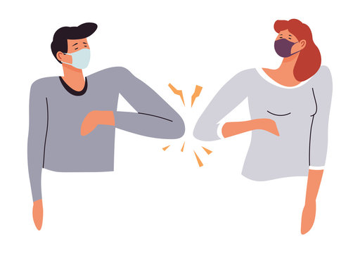 People avoiding contact greeting by bumping elbows vector