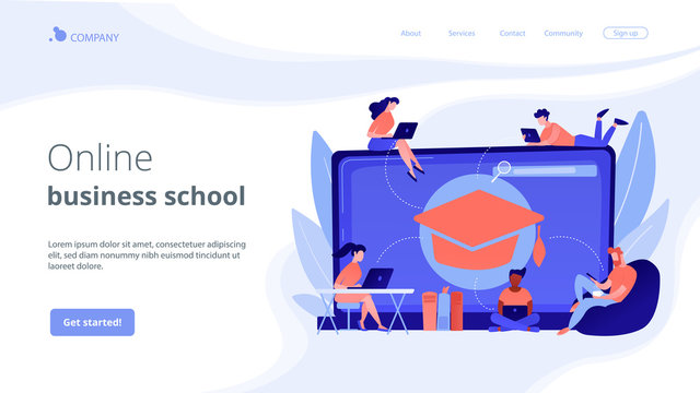 Students with laptops studying and huge laptop with graduation cap. Free online courses, online certificate courses, online business school concept. Website vibrant violet landing web page template.