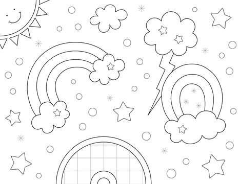 rainbows with clouds coloring page. You can print it on an 11x8.5 inch page