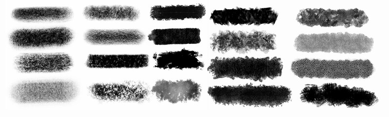 Brush paint strokes. Texture brushes and modern grunge brush lines. Ink brush artistic design element for frame design. Vector isolated elements set. Grungy black swatches. Rough smears and stains Fotomurales