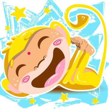 Laughing yellow monkey doing yoga