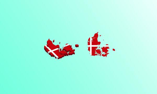 denmark map 3D icon vector illustration.