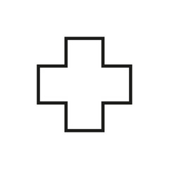 Simple medical cross line icon.