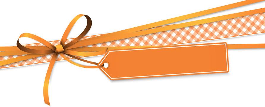 orange colored ribbon bow with hang tag