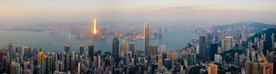 Hong Kong Cityscape Panoramic iat Sunset Fotomurales