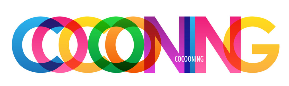 COCOONING colorful vector typography banner