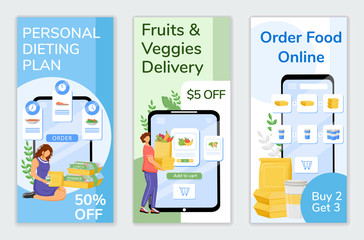Food delivery special offers flyers flat vector templates set. Online orders discount printable leaflet design layout. Healthy nutrition sale web vertical banner, social media stories