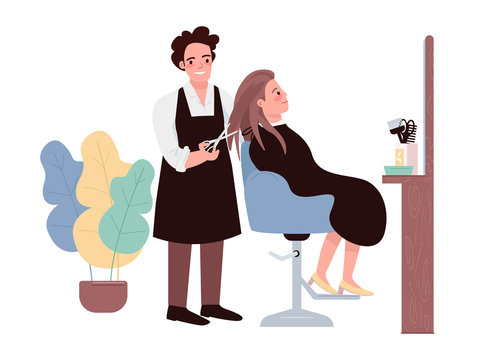 Hairdressing flat color vector characters. Male hairstylist doing haircut. Female caucasian client getting hairdo. Professional hairdresser. Beauty salon procedure isolated cartoon illustration