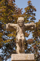 Galician cruise. Stone religious monument in the form of a cross. Typical of Galicia in Spain