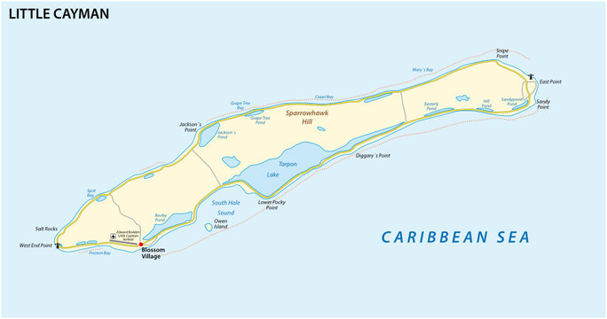 Map of Little Caman, an island in the Cayman Islands, UK