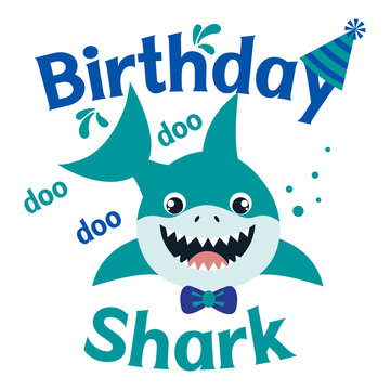Birthday Shark boy vector illustration. Cute baby shark happy birthday greeting card. Kids fashion graphic, shirt design.