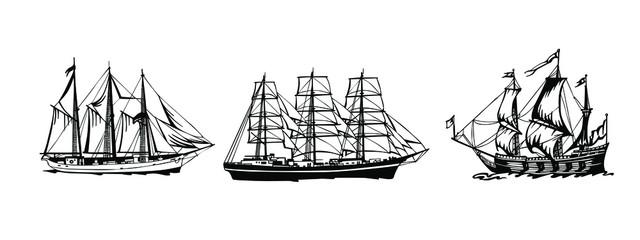 Spoed Fotobehang Schip Sailing Ship vintage frigate. Hand drawn vector illustration.