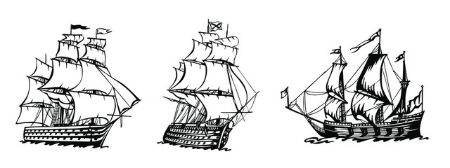 Fotorolgordijn Schip Sailing Ship vintage frigate. Hand drawn vector illustration.