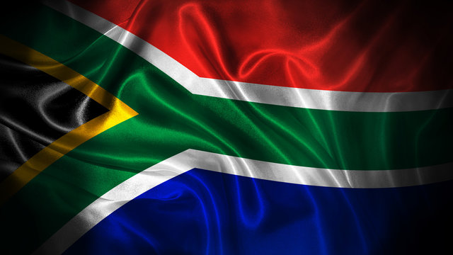 Close up waving flag of South Africa. National South Africa flag.