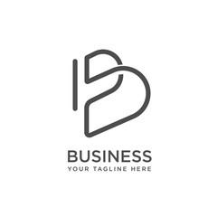 Obraz B letter initial line art logo design inspiration - fototapety do salonu
