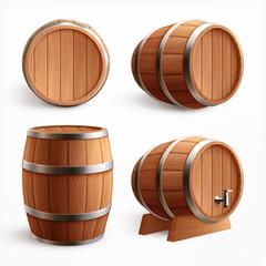 Realistic Wooden Barrels Set