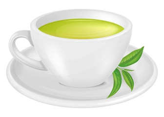 A cup of green tea. Vector illustration. Wall mural