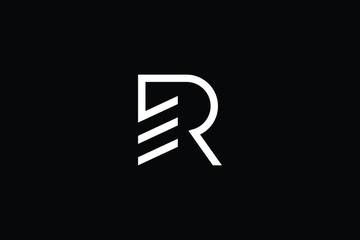Logo design of R RE ER in vector for construction, home, real estate, building, property. Minimal awesome trendy professional logo design template on black background.