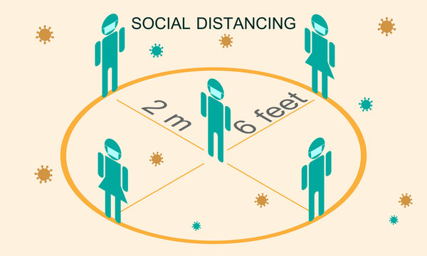 Social distancing concept isometric vector icon, Isometric people keep distance in public to protect from COVID-19 coronavirus outbreak spreading concept.