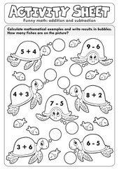 Photo sur Aluminium Enfants Activity sheet math theme 7