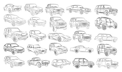 The Big set of car sketches.  Wall mural