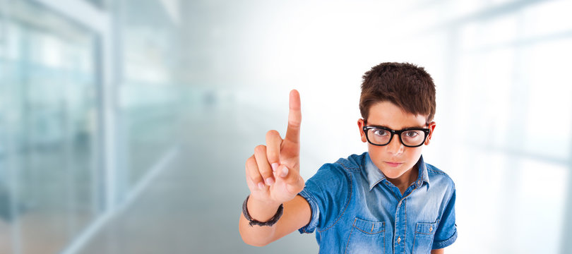 child or student with glasses and hand raising finger at school or home