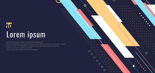 Obraz Banner web design template dynamic geometric pattern diagonal stripes line elements on blue background - fototapety do salonu